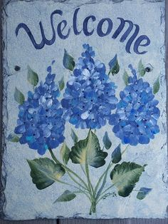 personalized painted slate welcome sign