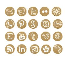 Social Media Icons, Blog Buttons, Web Buttons, Watercolor Buttons