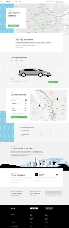 A completely redesigned home for Uber, reflecting its international aspirations, abundance of services, and friendlier consumer-facing brand. Page Design, Web Design, Uber Driving, Very Clever, New Drivers, Design System, Easy Rider, Call To Action, Job Opening