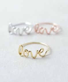 Cursive Love Ring (3 metal finishes)