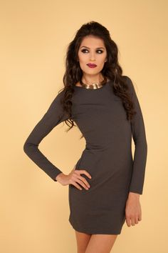 Knit long-sleeve dress with back buttons.  www.facebook.com/editacollection2011