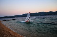 Windsurfing, stop near beach, Croatia