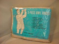 Vintage Clear Vinyl Plastic Rainsuit Rain Suit Mens sz Large Coat Pants Hood NIP