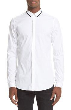 THE KOOPLES Trim Fit Contrast Collar Poplin Shirt. #thekooples #cloth #