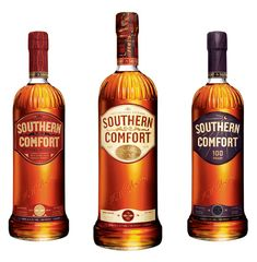 Southern Comfort - goes down well with lemonade or coke w/ a slice of lime. I personally have also found that the one on the right mixes well with bottled blueberry juice cocktail. Mardi Gras Food, Mardi Gras Party, Cocktail Drinks, Alcoholic Drinks, Beverages, Cocktails, Packaging Design, Branding Design, Spirit Drink