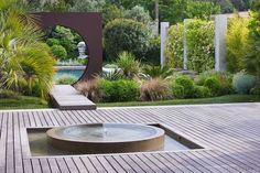 Jardin Provencal by Dominique Lafourcade with clever use of shapes and lines. Pool Water Features, Water Features In The Garden, Modern Landscaping, Garden Landscaping, Landscape Design, Garden Design, Provence Garden, Contemporary Garden, Garden Structures
