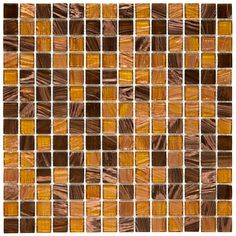 Merola Tile Coppa Amber 12 in. x 12 in. x 4 mm Glass Mosaic Tile, Amber/Brown/Brown/Smooth