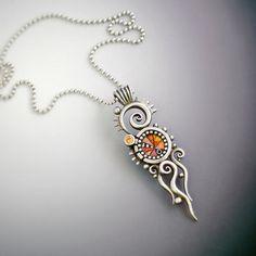 Sterling Silver Pendant Necklace with orange by LizardsJewelry aka Liz Hall