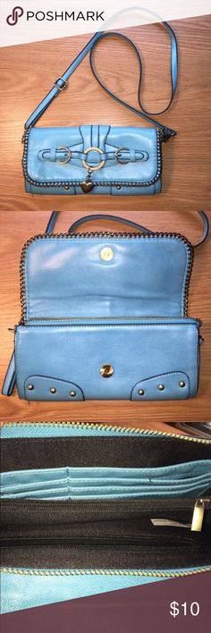 """Blue Cross-Body Bag ✨ Brand: Unknown ✨ Condition: Lightly Used With No Wear ✨ Material: 100% Man Made Material  ✨ Width: 5"""" ✨ Length: 9.5"""" Bags Crossbody Bags"""