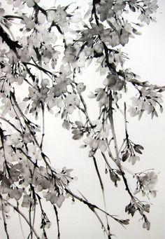 Japonais encre de peinture art Suibokuga Sumi-e art par Suibokuga