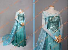 High Quality adult Elsa Snow Queen Princess Elsa Cosplay costume elsa blue dresses Halloween costumes for women party Dresses