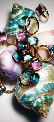 -Pomellato multi color gem rings.<3