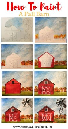 How To Paint A Fall Barn Learn how to paint a fall barn with this free online step by step acrylic painting tutorial. In this tutorial, you'll find a template for the barn and windmill that you can print and trace onto your canvas. Fall Canvas Painting, Cute Canvas Paintings, Canvas Painting Tutorials, Simple Acrylic Paintings, Autumn Painting, Diy Canvas Art, Painting Lessons, Diy Painting, Art Lessons