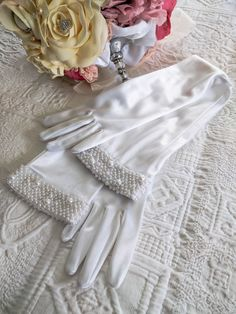 Bridal gloves, bridal long white gloves, beaded bridal gloves, elbow length bridal gloves, whites satin, medium to large size ladies gloves. by thevintagemagpie01 on Etsy Burlesque, Gypsy Wedding, Vintage Gloves, Wedding Gloves, White Gloves, Pearl Studs, White Satin, Bridal Accessories, Marie