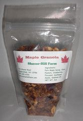 Maple Granola is a blend of pure maple syrup, oats, peanuts, cranberries, flaxseed, sunflower seeds, soybean oil in 6oz bag.  Maple Granola can be used in yogurt, ice cream, oatmeal, and several other foods for extra flavor.