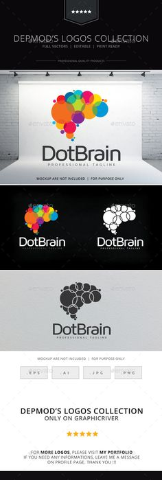 Dot Brain Logo  #identity #information #intellect • Click here to download ! http://graphicriver.net/item/dot-brain-logo/10135770?s_rank=54&ref=pxcr