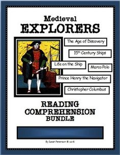 This product is great for Social Studies (History) and Language Arts (Reading Comprehension). The product contains: Seven 1-Page reading passages of informational text on Medieval Explorers and the Age of Discovery; Seven pages of Reading Comprehension questions (one for each passage); and the teacher's keys. Questions are true or false; multiple choice and open ended, and include both literal and inferential questions.  Grades 4-7 and Homeschool. $