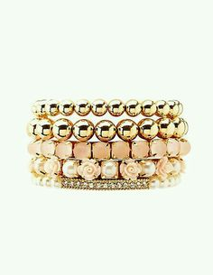 Peach and gold bracelets