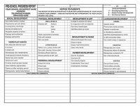 Preschool Progress Report Cards  Childcare    Pdf