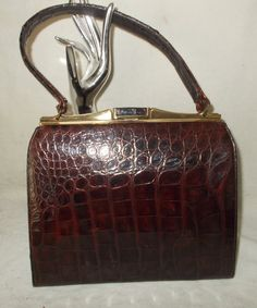 77a5d9daa106 Beautiful original vintage Belleston glossy brown crocodile handbag by  VintageHandbagDreams on Etsy