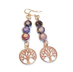Tree of Life and Purple Variscite earrings by BlessedMoonArtifacts