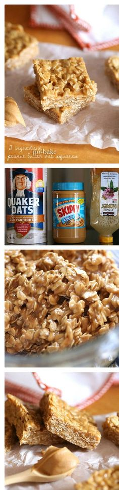 3 Ingredient No Bake Peanut Butter Oat Squares - 15 Super Healthy No-Bake Desser. 3 Ingredient No Bake Peanut Butter Oat Squares - 15 Super Healthy No-Bake Desserts Healthy Baking, Healthy Desserts, Delicious Desserts, Yummy Food, Healthy Recipes, Healthy Food, Healthy Meals, Vegetarian Snacks, Think Food