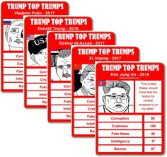 To celebrate the tumultuous 1st year of Donald Trump's presidency, we're pleased to introduce a 'Trump Top Trumps'. Visit https://awakeposttruth.com/trump-top-trumps-download-print-play/?utm_content=buffer89f42&utm_medium=social&utm_source=pinterest.com&utm_campaign=buffer for all 36 #DonaldTrump #TopTrumps #TrumpRussia #Trumps1stYearAtHogwarts #TrumpRegrets #TrumpLies #Trump #TrumpMorgan #TrumpInterview