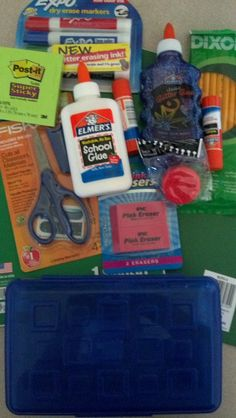 This is what each child is receiving in their Set. I hope to be able to get back to Walmarts when they have more supplies out to help more students! School Supplies, Markers, Something To Do, Lunch Box, Students, Child, Bag, Ideas, Purse