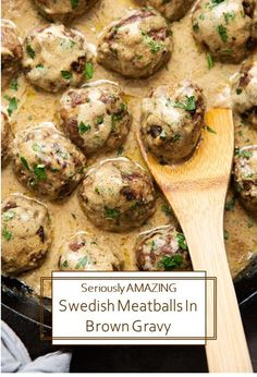 My favorite recipe for Swedish meatballs nuzzled in a simple yet creamy brown gravy! Just like IKEA but only better. It's so good you'll wanna slurp it through a straw! Swedish Meatball Gravy, Swedish Meatball Recipes, Chicken Meatball Recipes, Beef Recipes, Soup Recipes, Dinner Recipes, Cooking Recipes, Beef Gravy Recipe, Homemade Gravy Recipe