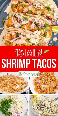 Make a weeknight meal or last minute entertainment a breeze with Easy Shrimp Tacos. A spicy, creamy and healthy recipe with cabbage slaw! Shrimp Taco Recipes, Slaw Recipes, Cabbage Recipes, Fish Recipes, Mexican Food Recipes, Slaw For Shrimp Tacos, Grilled Shrimp Tacos, Cabbage Slaw For Tacos, Healthy Recipes