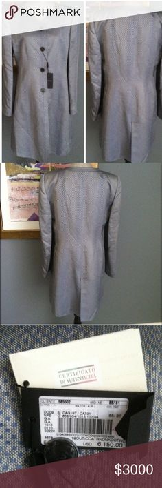 """Armani Fit & Flair Coat Amazingly gorgeous Giorgio Armani coat! This is a fit & flair style.  Has 4 double layered pearly gray buttons , slip pockets on either side , back/bottom slit , shoulder pads and is fully lined .  Made of 66% rayon/34% silk .  Measures 38"""" from shoulder to hem .  Made in Italy , size 50 which equates to a US size 16 .  Has original tags attached as well as certificate of authenticity .  STUNNING 😍 Giorgio Armani Jackets & Coats"""