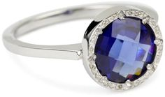 """REBECCA """"Florence Code"""" Stackable Sterling Iolite Ring"""