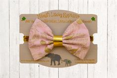 Fabric Bow Headband, Fabric Bow Clip-on ||  Pink Fabric Bow with Gold Metallic Rose Accents and Gold Sparkle Elastic Band or Clip Mounted by mamasluckyelephant on Etsy