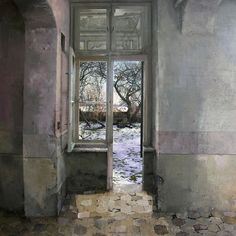 """Matteo Massagrande: """"the banal rooms and corridors of out-dated apartments, which have, for some reason, been abruptly abandoned by their inhabitants. Evidence of the haste with which this abandonment took place is evidenced by the scattered items of furniture they left behind – here an upended divan bed, there a shabby kitchen-table. None of it is furniture of any quality."""" http://www.albemarlegallery.com/artists/matteo-massagrande"""