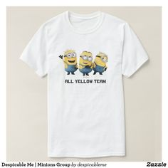 Customizable T-Shirt made by Zazzle Apparel. Cute Minions, Minions Despicable Me, My Minion, Minions Movie Characters, Minion Movie, Cartoon T Shirts, Create Your Own, Fitness Models, Group