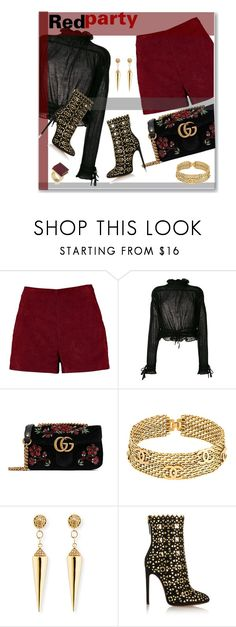 """""""Red party"""" by perlarara ❤ liked on Polyvore featuring Boohoo, 3.1 Phillip Lim, Gucci, Chanel, Sydney Evan, Alaïa and Trina Turk"""