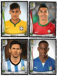 2014 World Cup Stars - Neymar (Brazil), Cristiano Ronaldo (Portugal),  Lionel Messi (Argentina), Mario Balotelli (Italy)  #WorldCup #SoccerLegend #FutbolLegend #FootballLegend #UEFA #FIFA