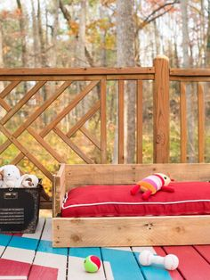 The experts at HGTV.com share simple step-by-step instructions on how to repurpose wood pallets to make a dog bed.