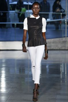 DL1961 Fall 2013, leather peplum top over blouse