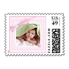New baby girl pink photo announcement Postage