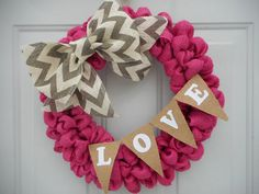 Pink Burlap Valentine wreath Valentine wreath by ChloesCraftCloset