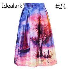 Women Skirt Vintage Peach Blossom Floral Print High Waist Ball Gown Pleated Midi Skater Skirts