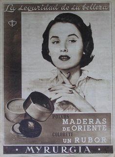 publicitat antiga:  POLVOS MADERAS DE ORIENTE. 1950s