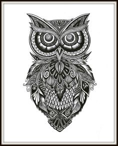 Owl Art Print of Original Illustration Pen by ShoreTownCreations