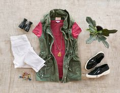 Red with Olive Green Utility Vest.