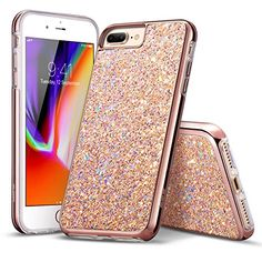 ESR iPhone 8 Plus Case, iPhone 7 Plus Case, Glitter Bling Hard Cover with Dual-Layer Structure [Hard PC Back Exterior + Soft TPU Interior] for The iPhone 8 Plus(Metallic Peach) Iphone 8 Plus, Iphone 8 Cases, Iphone 4, Apple Iphone, Rose Gold Phone, Iphone Deals, Apple 4, Thing 1, Glitter Phone Cases