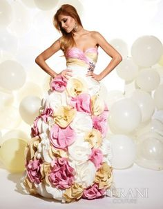 Pink Multi Colored Pleated Rosette Gown #uniqueprom
