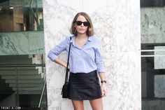 Trini | The Kooples blue classic shirt T by Alexander Wang leather skirt Reed Krakoff bag