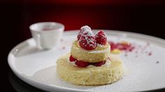 White Chocolate Mousse Cake with Lemon Curd and Raspberries