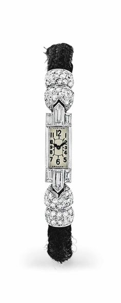 Vintage Watches Collection : Diamond, platinum, and white gold watch, circa by Cartier. - Watches Topia - Watches: Best Lists, Trends & the Latest Styles Bijoux Art Deco, Art Deco Jewelry, Antique Jewelry, Vintage Jewelry, Art Deco Watch, 1920s, Art Deco Period, Art Deco Diamond, Beautiful Watches